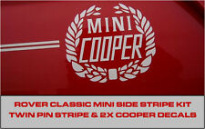 Classique rover mini cooper twin side stripe decal kit couronne de lauriers à fines rayures