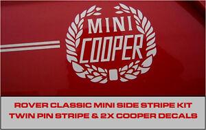 Classic Rover Mini Cooper Twin Side Stripe Decal Kit Laurel Wreath Pinstripe