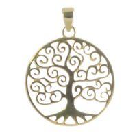 Baum Des Lebens Anhänger Silber Vergoldet Gothic Schmuck - NEU