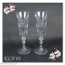 ~ Two Personalised wedding engraved CHAMPAGNE FLUTES GLASS anniversaries event ~