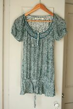 New Look Ladies Teal Paisley Print Long Line Gypsy Style Top - Size 8
