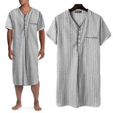 Mens Short Sleeve Striped Pajamas Kaftan Dress Nightwear Nightshirt Sleepwear US