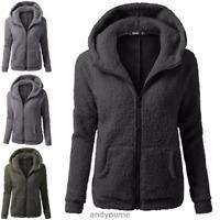 Women's Warm Winter Zip Up Fleece Coat Hooded Parka Overcoat Jacket Outwear Tops