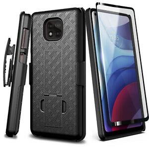 For Motorola Moto G Power (2021) Case Holster Belt Clip Cover + Tempered Glass