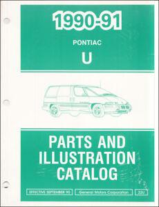 1991 Pontiac Trans Sport Teile Buch Transport Van Illustrierte Teil Katalog