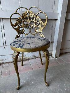 Vintage KESSLER Ind 6319 Hollywood Regency Vanity Boudoir Chair Alloy Metal Gold