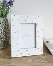 Country Cottage Hand Carved Polka Dot White Mango Wood 6x4'' Photo Frame