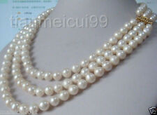 """Charming 3 Row Natural 9-10mm AA White South Sea Pearl Necklace 16-19"""""""