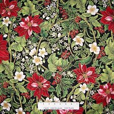 Christmas Fabric - Holiday Flourish Poinsettia Black - Robert Kaufman YARD