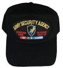 ARMY SECURITY AGENCY KOREAN WAR VETERAN WITH CREST HAT - BLACK - Veteran Owned B