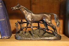 Antique Heavy Bronze Horse Statue Art Sculpture Bookend Fence western vintage