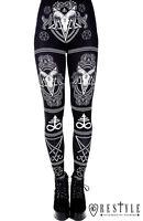 Restyle Satanic Black Punk Gothic Emo Ram Skull Pentagram Adult Womens Leggings