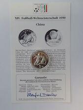 China - 5 Yuan - 1989 - Silber - Fussball WM 1990 Italien - PP