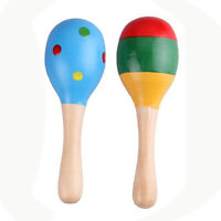 2 X Wood Maracas Musical Instrument Toy For Kids T1