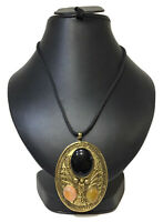 Victorian Necklace Antique Handmade Brass Gold Chain Pendant 9ct Coral Long Jet