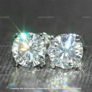 4Ct Round Moissanite Screw Back Solitaire Stud Earrings 14K White Gold Over
