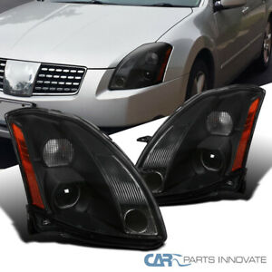 For 04-06 Nissan Maxima Black Projector Headlights Replacement Head Lamps Pair