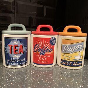 Retro Vintage Ceramic Tea Coffee Sugar Canisters Jars 50's Kitchen  Storage Jars