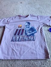FC Barcelona Messi Youth Small. Grey Poly T Shirt Tee By Hky Sportswear. New.