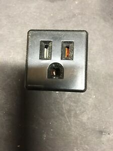 """Circle F Snap-In Convenience Outlet Black  3 Prong 1.5"""" Square NEW OLD STOCK"""