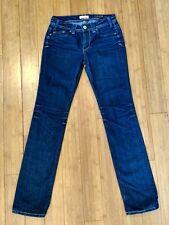 Womens Yanuck designer skinny jeans Dark wash distressed size 26 Made in USA
