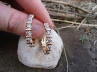 14K Yellow Gold Finish 1.00 Ct Round Cut Diamond Hoop Earrings