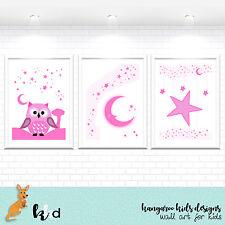 Owl Prints, Nursery Prints, Baby Girl Prints, Pink Nursery Decor, Woodland
