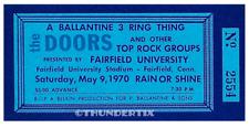 1 1970 DOORS VINTAGE UNUSED FULL CONCERT TICKET FAIRFIELD CONN. laminated repro