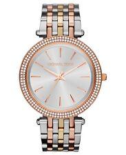 New Michael Kors Darci Tri-Tone Silver Rose Gold MK3203 Ladies Glitz Watch