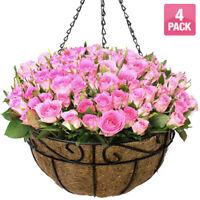 """4 Pack Metal Hanging Planter Huge 14"""" Flower Pot Coco Coir Liner Indoor/Outdoor"""