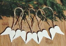 Xmas Tree Decoration Rustic Nordic White Wooden Hanging 5 x Angel Wings