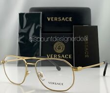 Versace Aviator Eyeglasses VE1252 1428 Gold Metal Frame Clear Demo Lens NEW 55mm