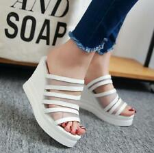 Women's High Wedge Platform Slippers Open Toe Slingback Sandals Mesh Heels Shoes