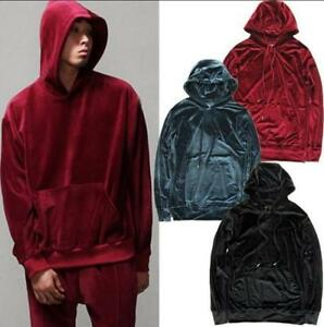 Mens Hooded Velvet Trousers Tops Tracksuit Jumper & Pants Joggers Suits 1 PCS