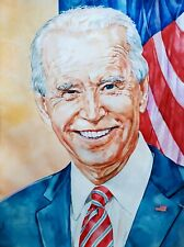 "11.69 × 15.75"" Joe Biden: US President-elect~ watercolor SIGNED and DATED"