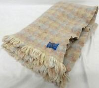 PENDLETON Light Brown & Light Blue Small 100% Virgin Wool Blanket