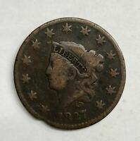 1827 Coronet Head Large Cent 1¢ Very Good - Fine