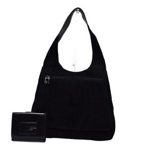 GUCCI G Logo 2 Set Bifold Wallet Shoulder Bag Suede Leather Black Italy 03BU540