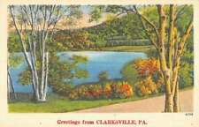 Clarksville Pennsylvania Scenic Waterfront Greeting Antique Postcard K82742