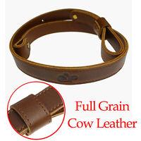 "Buffalo Hide Leather Rifle Gun Sling_Full Grain/Brown_Adjust Handmade_1"" Wide"