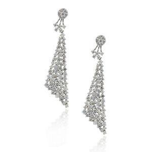 18k White Gold 13.37ctw Diamond Pave Dangle Earrings