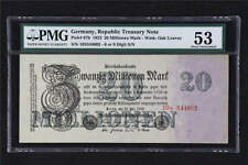 GERMANY BANKNOTE 1923 EPQ 20  MILION MARK P-97b ABOUT UNC PMG 53 FREE SHIPPING