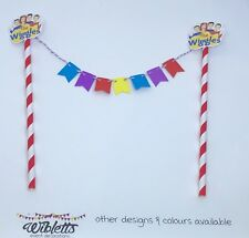THE WIGGLES THEME MINI PAPER BUNTING BIRTHDAY CAKE TOPPER RED BLUE YELLOW PURPLE
