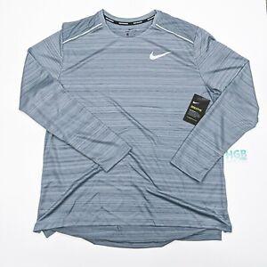 Nike Breathe Long Sleeve T-Shirt Men's Running Training Gym Grey AJ7568-084