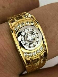 2.35 Ct 14k Yellow Gold Over Round Diamond Men's Engagement Wedding Pinky Ring