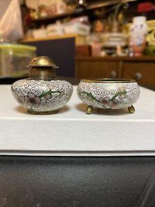 Vintage Chinese Cloisonne Open Salt Pepper Set Apple Blossom Design Gold Trim