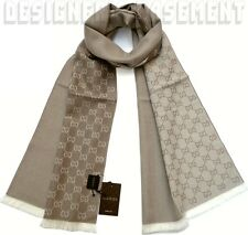 "GUCCI ecru/beige Wool Jacquard HALF GG unisex 16x74"" Muffler Scarf NWT Authentic"