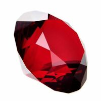 80mm Red Crystal Diamond Shape Paperweight Glass Gem Display Ornament Gift Box