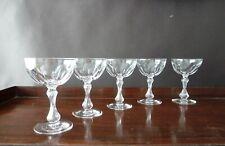 Vintage Val St Lambert VAS50 Cut Champagne Glasses Air Trapped Stem Set of 5