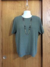 """WOMEN'S, LADIES, SIZE L """"ALFRED DUNNER"""" GREEN, SHORT SLEEVE, PULLOVER, SWEATER"""